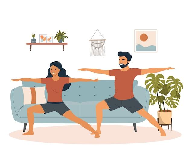 Junger mann und frau in yoga-pose im wohnzimmer. flache artillustration der vektorkarikatur