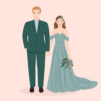 Junger mann und frau, paar braut und bräutigam in hochzeit, formelle kleidung. trendige vektorillustration