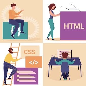 Junger mann und frau programmierer machen website