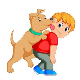 Junger mann und liebte seinen hund