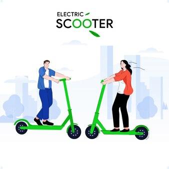 Junger mann und mädchen reiten tretroller elektrisch mit dem glück auf ihrem gesicht über den stadtpark. illustrationsdesign
