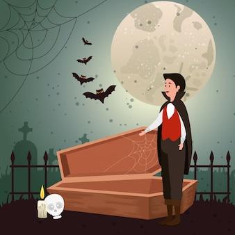 Junger mann verkleidet von vampir in der szene halloween