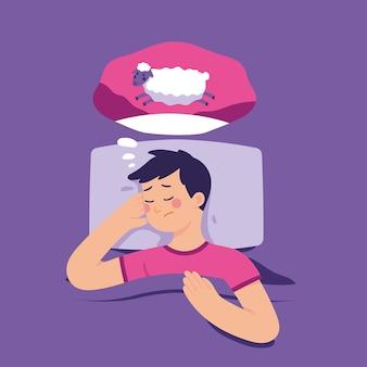 Junger mann versucht zu schlafen, indem er schafe zählt