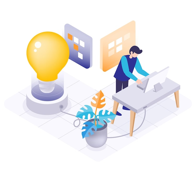 Junger mann verwenden desktop-computer, um zu arbeiten, virtuelles bild der glühbirne des ideenkonzepts, entwurf der isometrischen illustration