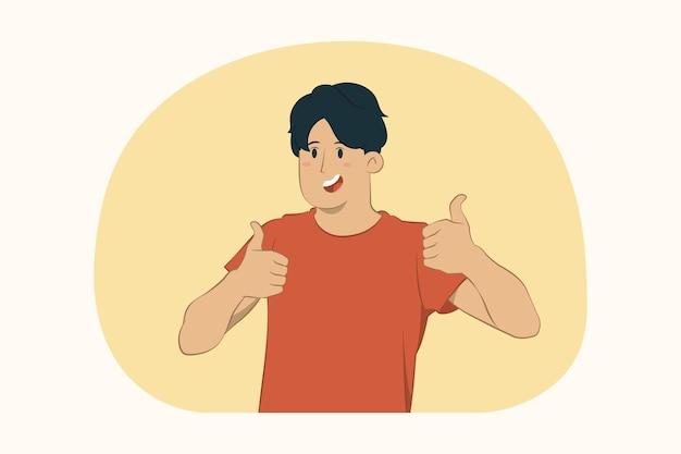 Junger mann zeigt daumen hoch zwei hände