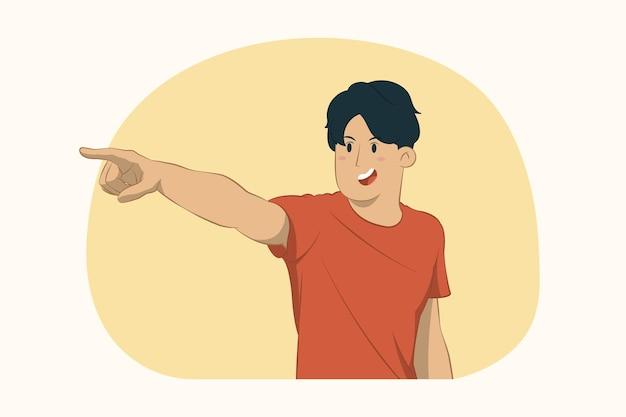Junger mann zeigt zeigefinger beiseite konzept