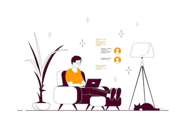 Junger mann zu hause, der im stuhl sitzt und am computer arbeitet. fernarbeit, home office, selbstisolationskonzept. flache artlinienkunstillustration, lokalisiert auf weißem hintergrund.