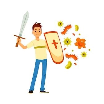 Junger manncharakter, der schild und schwert hält und angriffe von viren und infektionen reflektiert, karikaturvektorillustration lokalisiert auf weißer oberfläche