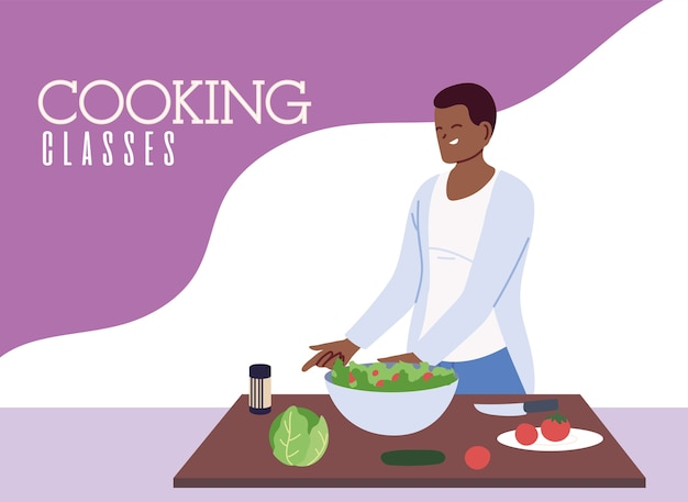 Junger mannkoch, der gesundes essen im illustrationsdesign der kochklassen vorbereitet