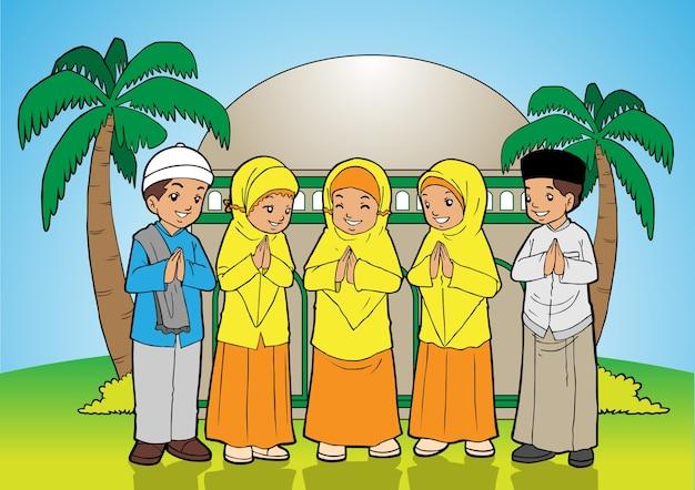 Junger moslemischer junge und mädchen