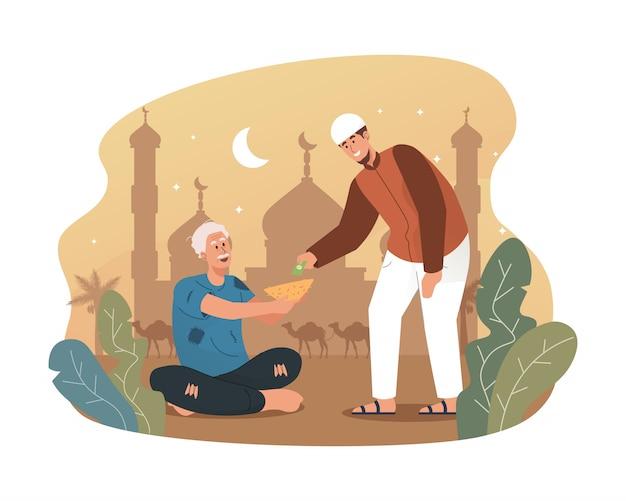Junger muslimischer mann, der obdachlosen geld gibt