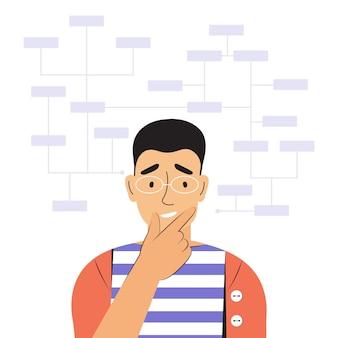 Junger nachdenklicher mann löst komplexe arbeitsaufgaben. verwirrter männlicher charakter. arbeiten mit big data, analysieren und auditieren von geschäftsprozessen. art und modell der mentalen denkweise. flache vektorillustration der farbe