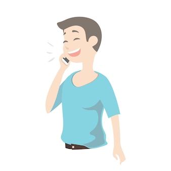 Junger netter mann, der am intelligenten telefon spricht