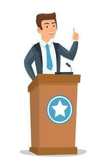 Junger politiker, der auf publikum spricht