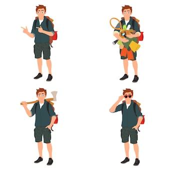 Junger reisender steht mit kampfsachen in den händen. viele einkäufe zu den niedrigsten preisen.