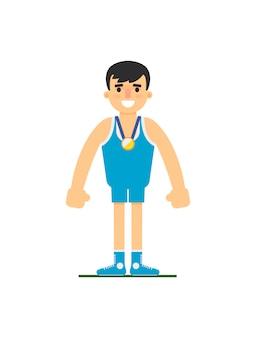 Junger ringkämpfer in der sportuniform