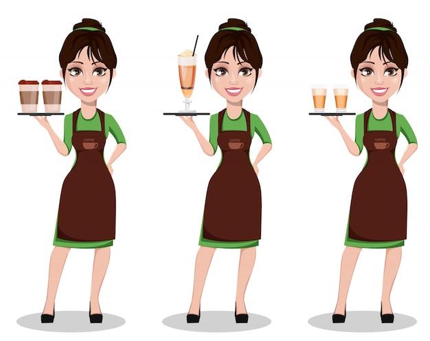 Junger schöner weiblicher barista