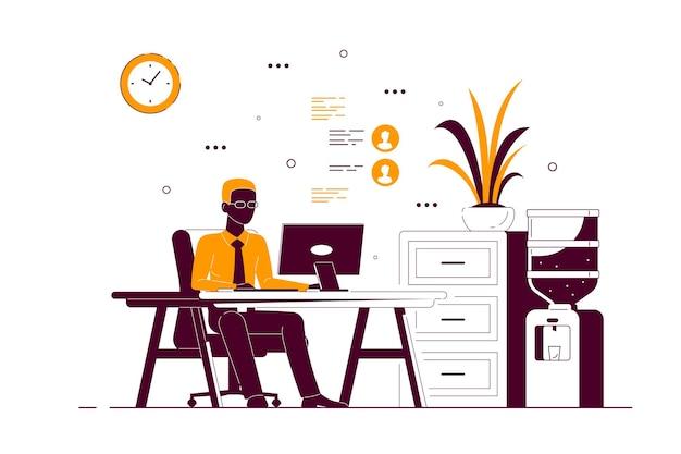 Junger schwarzer geschäftsmann, der am computer am schreibtisch im büro arbeitet. flache art strichzeichnungen illustration
