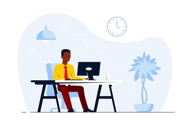 Junger schwarzer geschäftsmann, der am computer am schreibtisch im büro arbeitet. flache artillustration
