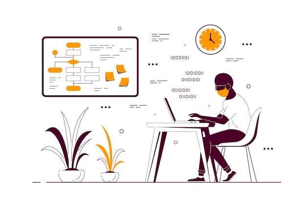 Junger schwarzer mann, der am laptop am schreibtisch im büro arbeitet. flache art strichzeichnungen illustration