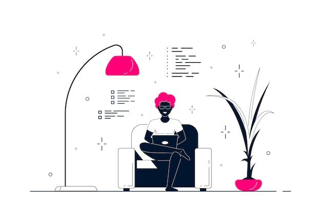 Junger schwarzer mann zu hause, der im stuhl sitzt und am computer arbeitet. fernarbeit, home office, selbstisolationskonzept. flache artlinienkunstillustration, lokalisiert auf weißem hintergrund.