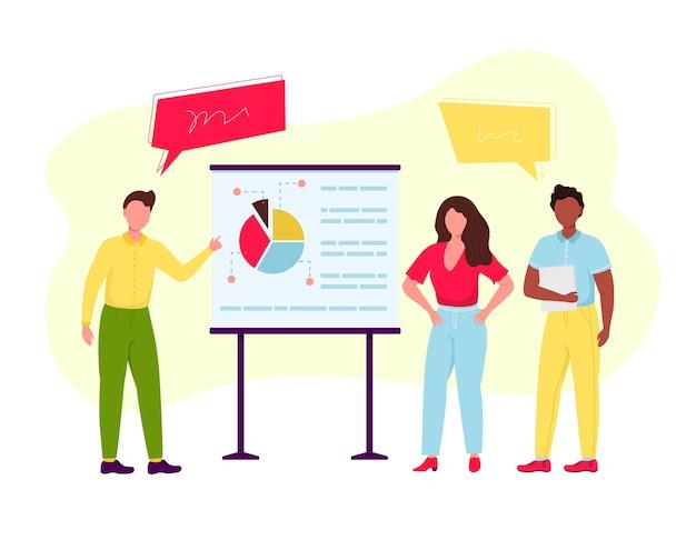 Junger selbstbewusster geschäftsmann und -frau nahe der stehenden präsentationsanzeigetafel, die mit den händen zeigt, effektive teamarbeit, die grafiken präsentiert. geschäftsleute arbeiten konzept.