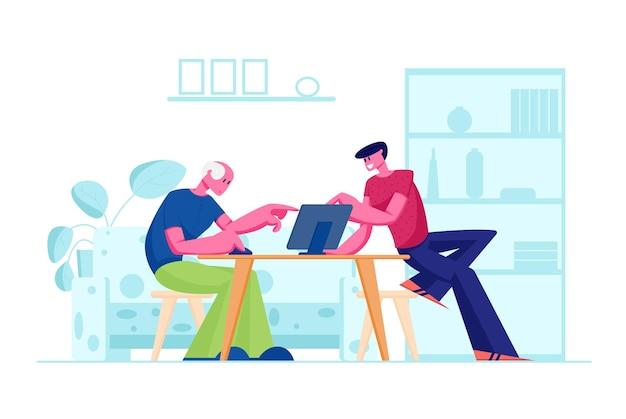 Junger sohn lehrt vater, der am tisch sitzt, wie man laptop benutzt. karikatur flache illustration