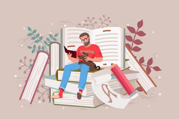 Junger, stilvoller, entspannter mann, der mit seinem hundehaustier auf einem stapel riesiger bücher sitzt und educ . liest