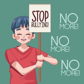 Junger teenagerjunge mit stoppmobbingbeschriftung in der protestfahnenillustration
