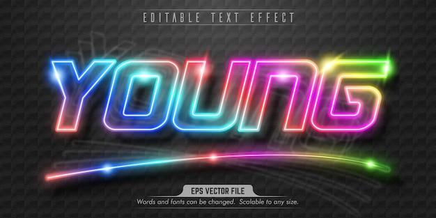 Junger text, bearbeitbarer texteffekt im neonstil