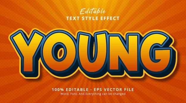 Junger text im ausgefallenen comic-farbstil, bearbeitbarer texteffekt