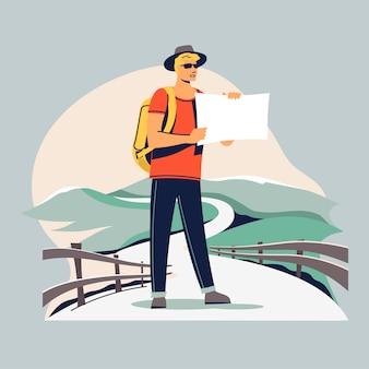 Junger tourist mit einem rucksack, der geht und sich dem schönen ziel anschließt