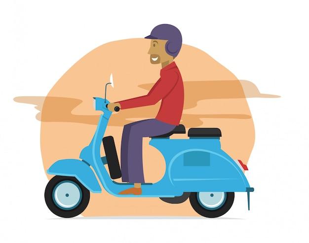 Junger typ, der klassisches rollermotorrad reitet