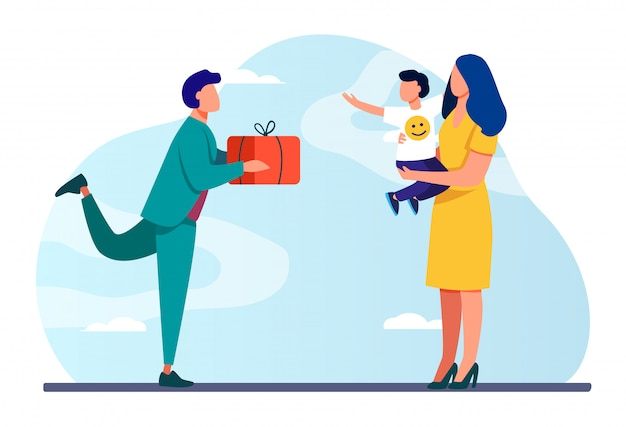 Junger vater gibt frau mit kind geschenk