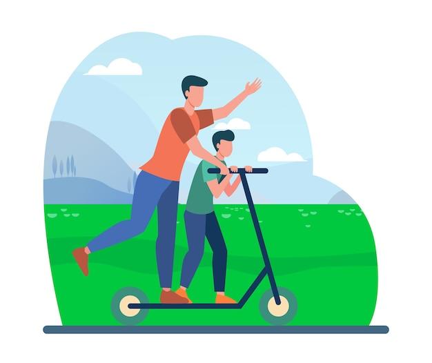 Junger vater reitet auf elektroroller mit sohn. flache vektorillustration der familie, der landschaft, des parks. aktivität und sommerferien