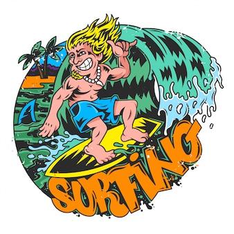 Junger verrückter mannsurfer, der auf großer guter blauer welle in schönem ort zwischen ozeanmeersommerstrand mit palme und heißer sonne surft. gute sportform. moderne illustrationskarikaturfigur.