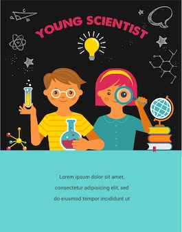 Junger wissenschaftler. illustration zu forschung, biotechnologie, chemischem labor und bildung