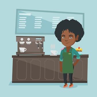 Junges afrikanisches barista, das nahe kaffeemaschine steht