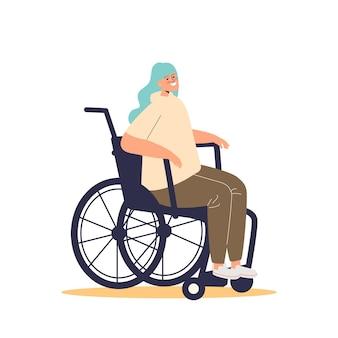 Junges behindertes mädchen im rollstuhl. frau mit behinderung glücklich lächelnd im rollstuhl sitzend