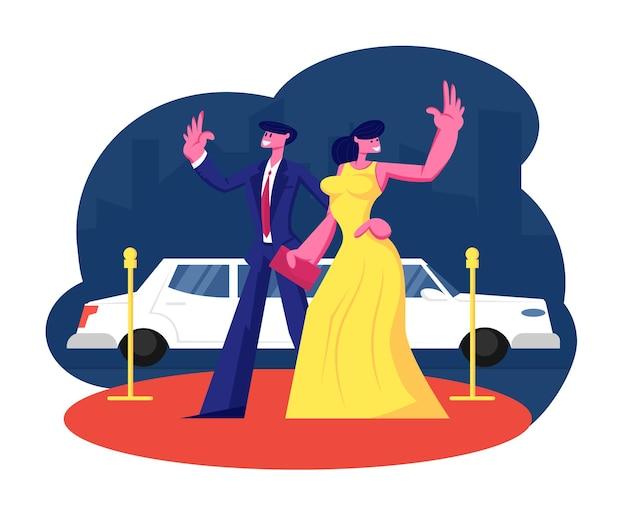 Junges berühmtes paar auf rotem teppichstand bei limousinenwinkenden händen. karikatur flache illustration