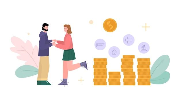 Junges ehepaar, das finanzplanung für das familienbudget und geldeinsparungen macht