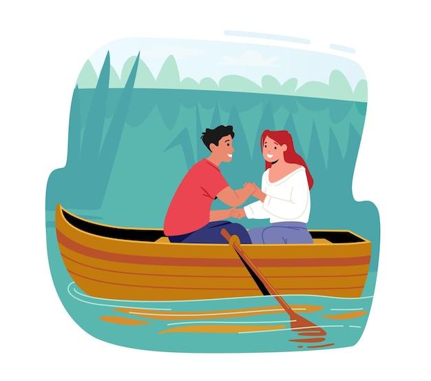 Junges glückliches mädchen und junge-romantik-dating. mann und frau schwimmendes boot an der wasseroberfläche. charaktere, die händchen halten, sommerurlaub, liebespaar-freizeit. cartoon-menschen-vektor-illustration