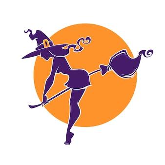 Junges glückliches und attraktives hexenbild für ihren halloween-flieger, logo, etikett, emblem