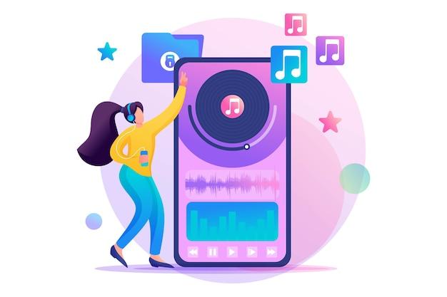 Junges jugendlich mädchen, das ihre lieblingsmusik durch die mobile app hört.