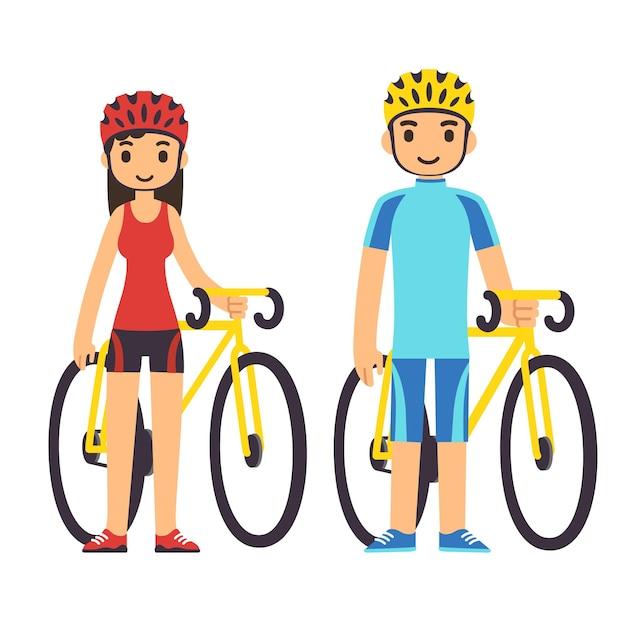 Junges karikaturpaar in der fitnessausrüstung mit fahrrädern.
