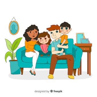 Junges konzept der familie zu hause