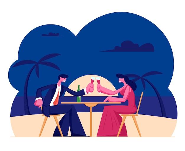 Junges liebendes paar, das sonnenuntergang genießt abendessen im exotischen tropischen resort mit palmen am meer. karikatur flache illustration