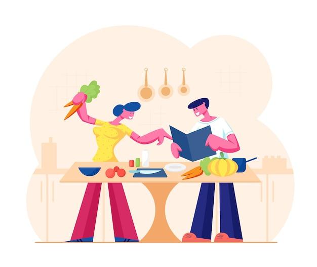 Junges liebendes paar, das zusammen auf küche kocht. familie bereiten abendessen mit frischen produkten auf dem tisch vor. karikatur flache illustration