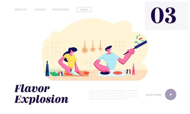 Junges liebendes paar, das zusammen auf küche kocht. familie bereitet abendessen vor. jeden tag routine, liebe, menschliche beziehungen, romantische website landing page, webseite. karikatur-flache vektor-illustration