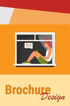 Junges mädchen, das auf fenster mit tablette sitzt. nachricht, post, teenager flache vektor-illustration. kommunikations- und digitaltechnikkonzept